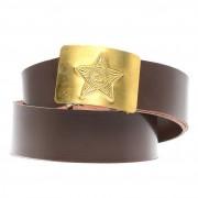 Ремень солдатский кожаный коричневый с латунной бляхой (новодел)