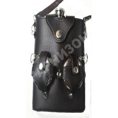 Набор «Подарочный» (фляга+2 складных металлических стакана в кожаном чехле)