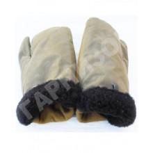 Рукавицы трехпалые из натурального меха защитного цвета с защитными наладонниками