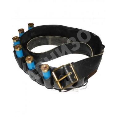 Патронташ комбинированный кожзам с кожей открытый (КМФ, Лес, Черный)
