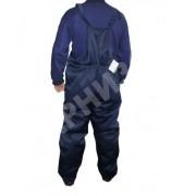 Полукомбинезон утепленный на молнии ткань гретта темно синий с васильковым
