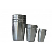Набор из 4 стаканов металлический большой в кожаном чехле